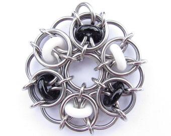 Black and White Pendant, Glass Pendant, Chain Maille Pendant, Glass Jewelry
