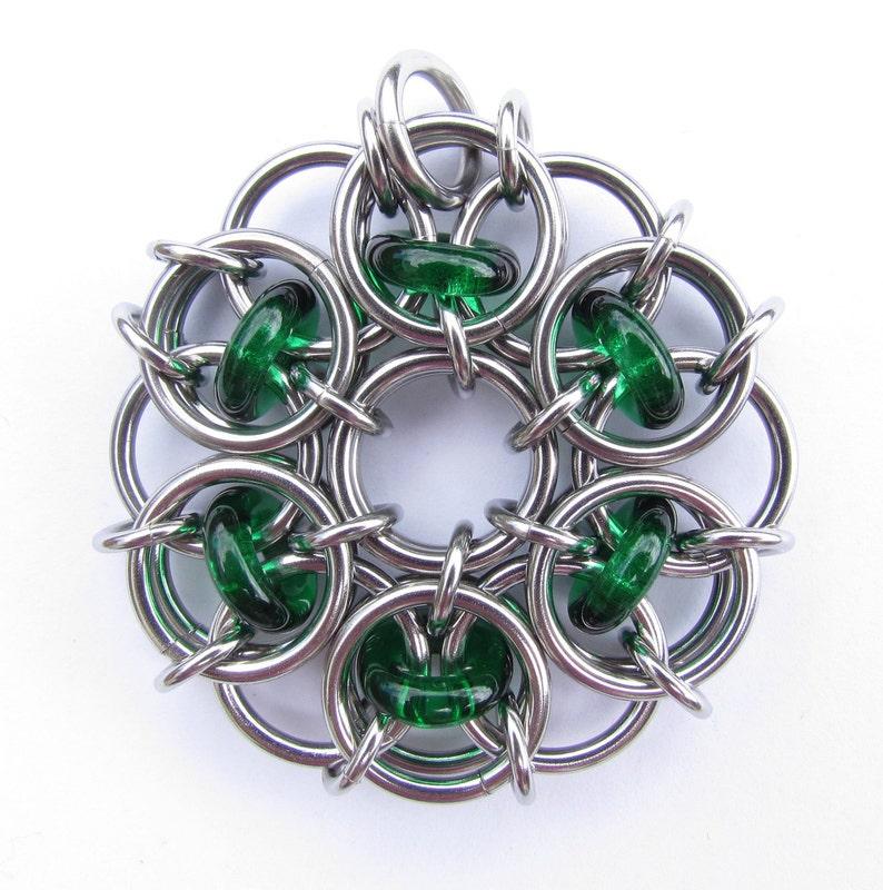 Green Chain Maille Pendant Glass Pendant Emerald Green image 0