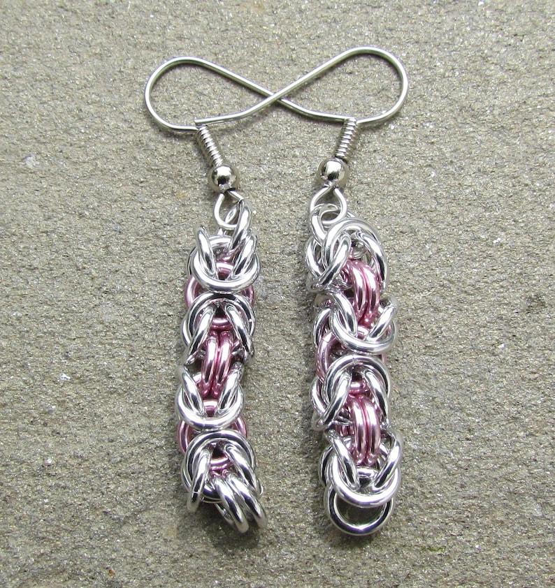 Chain Maille Earrings Pink Earrings Byzantine Earrings image 0