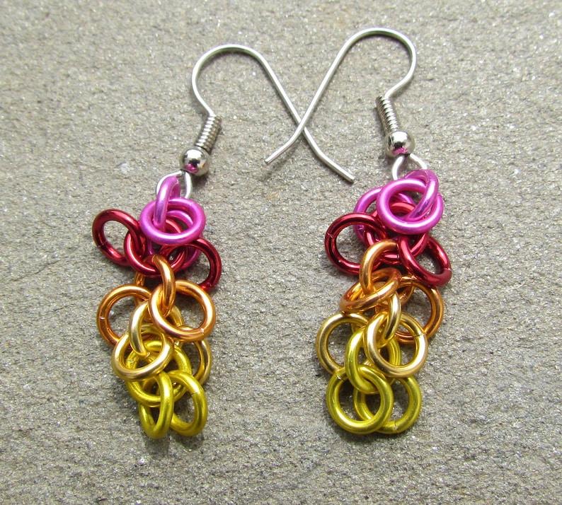 Chain Maille Earrings Shaggy Loops Earrings Multicolor image 0