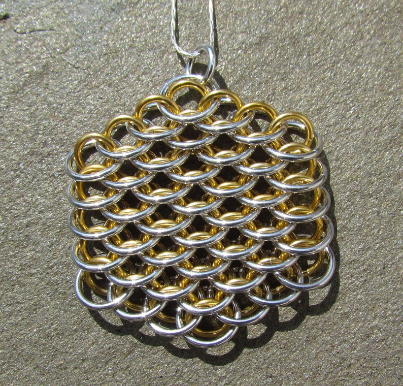 Chain Maille Pendant Dragonscale Pendant Gold Colored and image 0