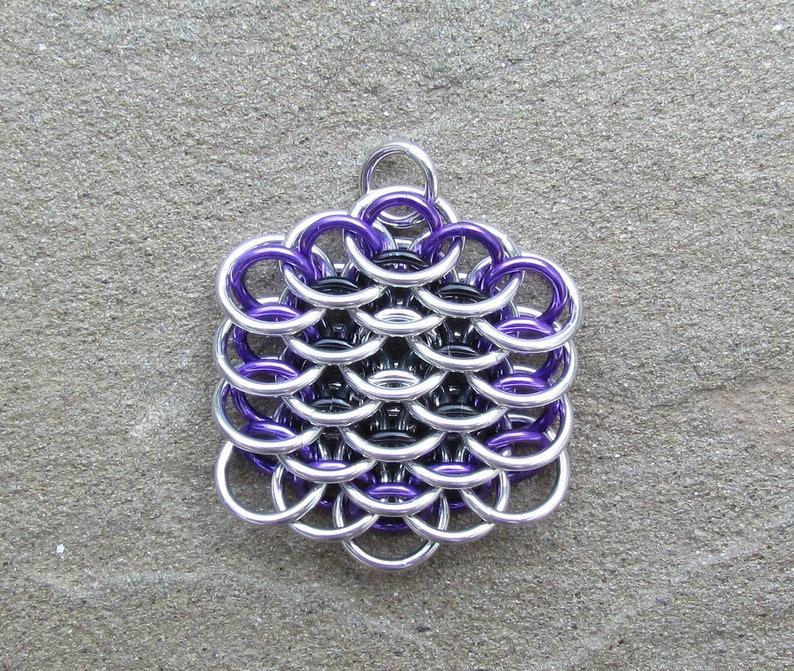 Chain Mail Pendant Dragonscale Pendant  Purple Black and image 0