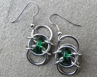 Green Earrings, Chain Maille Earrings, Glass Earrings, Emerald Green Glass Jewelry