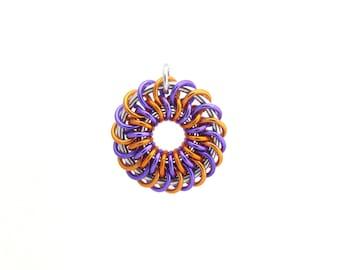 Chain Maille Pendant, Jump Ring Jewelry, Aluminum Pendant, Orange and Purple, Circle Pendant