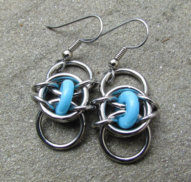 Turquoise Earrings Chain Maille Earrings Stainless Steel and image 0
