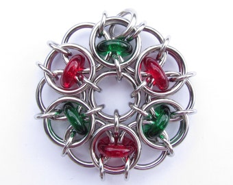 Glass Pendant, Christmas Ornament, Chain Maille Pendant, Glass Ornament, Red And Green