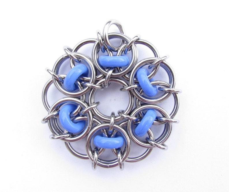 Glass Pendant Chain Maille Pendant Blue Pendant Opaque image 0