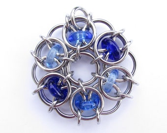 Blue Pendant, Glass Pendant, Chain Maille Pendant, Shades of Blue Glass Jewelry