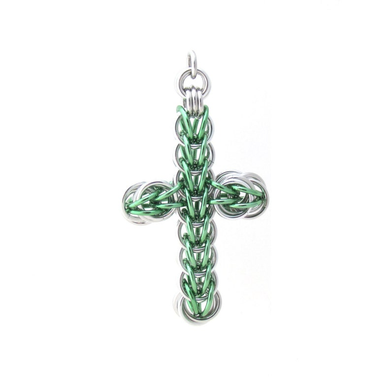 Green Cross Pendant Chain Maille Pendant Mint Green Cross image 0