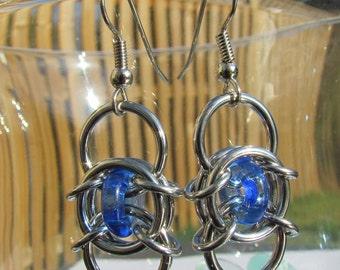Chain Maille Earrings, Glass Earrings, Sapphire Blue Earrings, Blue Glass Jewelry
