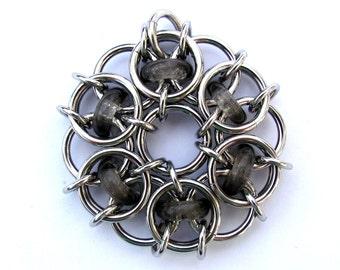 Chain Maille Pendant, Grey Pendant, Glass Pendant, Transparent Smoke Gray Glass Jewelry