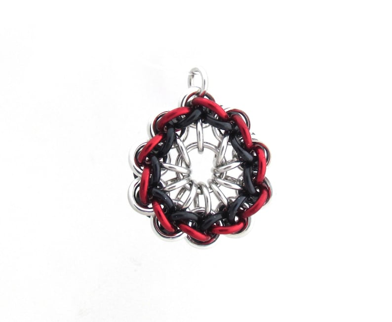 Chain Mail Pendant Red and Black Jump Ring Jewelry image 0