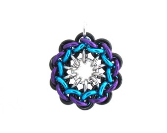 Spiral Chain Maille Pendant, Jump Ring Jewelry, Multicolor Pendant, Jens Pind Chain Maille Jewelry