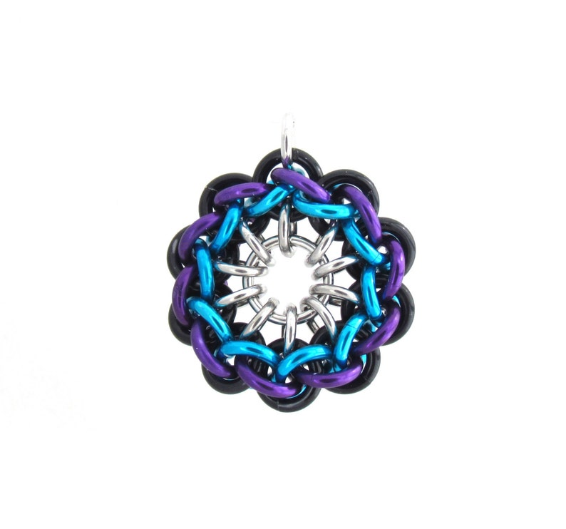 Spiral Chain Maille Pendant Jump Ring Jewelry Multicolor image 0