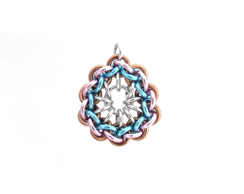 Pastel Jump Ring Pendant Chain Maille Pendant Multicolor image 0