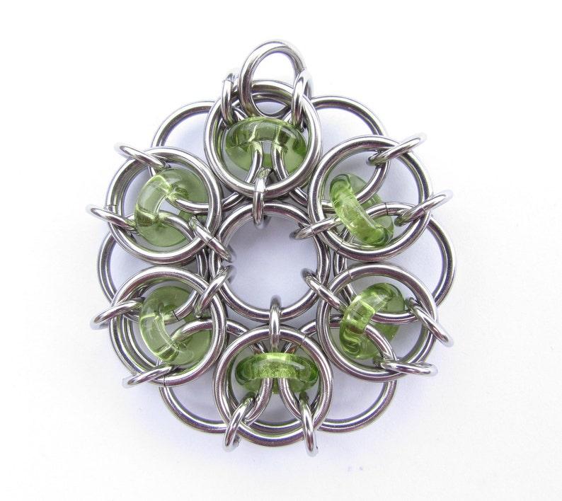 Chain Maille Pendant Green Pendant Glass Pendant Peridot image 0