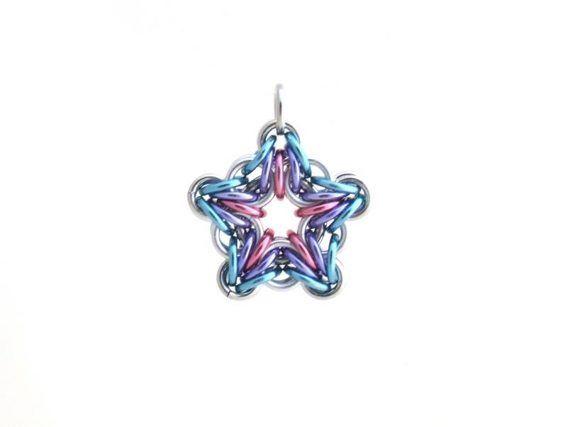 Star Pendant Chain Mail Pendant Pastel Jewelry Star Jewelry image 0