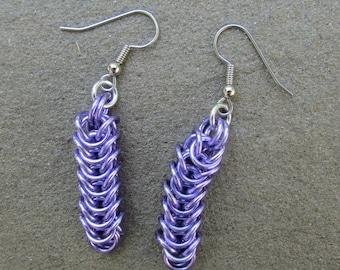 Chain Maille Earrings, Purple Earrings, Lavender Purple Box Chain Earrings, Jump Ring Jewelry