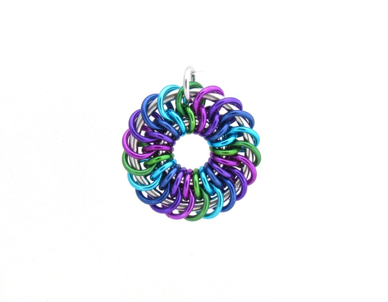 Multicolor Pendant Chain Maille Pendant Jump Ring Jewelry image 0