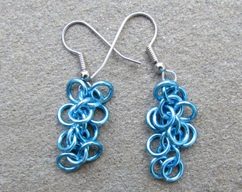 Chain Maille Earrings, Blue Earrings, Shaggy Loops Earrings, Sky Blue Dangle Earrings, Pastel Jewelry