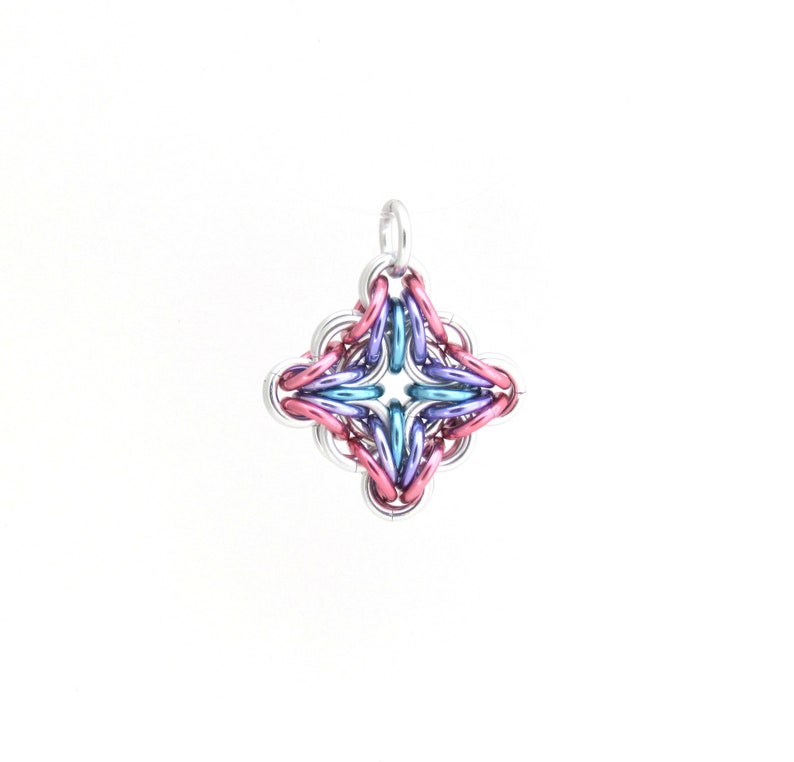 Chain Maille Pendant Diamond Pendant Filigree Pendant image 0