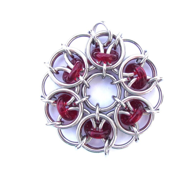 Glass Pendant Red Pendant Chain Maille Pendant Ruby Red image 0