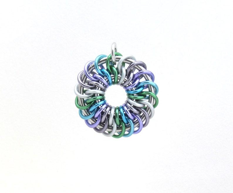 Chain Maille Pendant Pastel Pendant Multicolor Jewelry Jump image 0