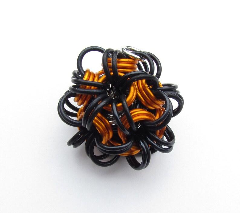 Halloween Pendant Chain Maille Pendant Dodecahedron Orange image 0