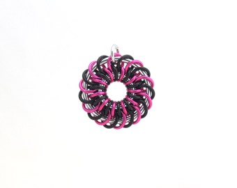 Chain Maille Pendant, Pink and Black Jewelry, Jump Ring Jewelry, Aluminum Pendant, Spiral Pendant