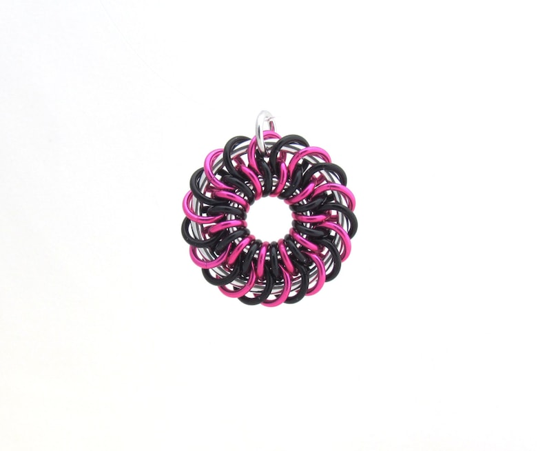 Chain Maille Pendant Pink and Black Jewelry Jump Ring image 0
