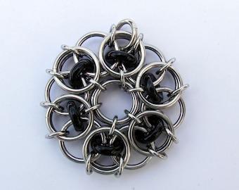 Black Pendant, Chain Maille Pendant, Glass Pendant, Opaque Black Glass Jewelry