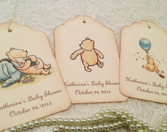 Baby Shower Thank You Gift Favor Tags-Classic Pooh Shower Decorations-Set  of 12 e35b15883717