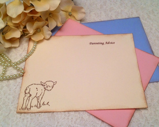 Blessing and Wish Cards for Babies and New Parents with Vintage Lamb Ewe- Set of 12