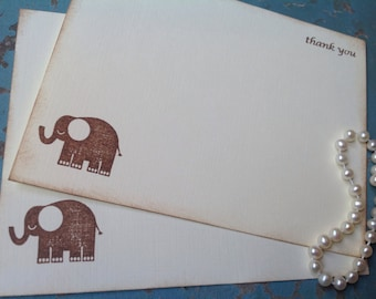 Thank You Cards-Elephant Stationery and Flat Note Cards for Birthdays and Showers-Set of 10