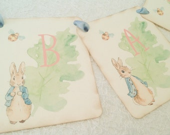 Peter Rabbit Baby Shower Banners for Girls-Personalized Banners Signs-Pink Banner-Peter Rabbit First Birthday Banner
