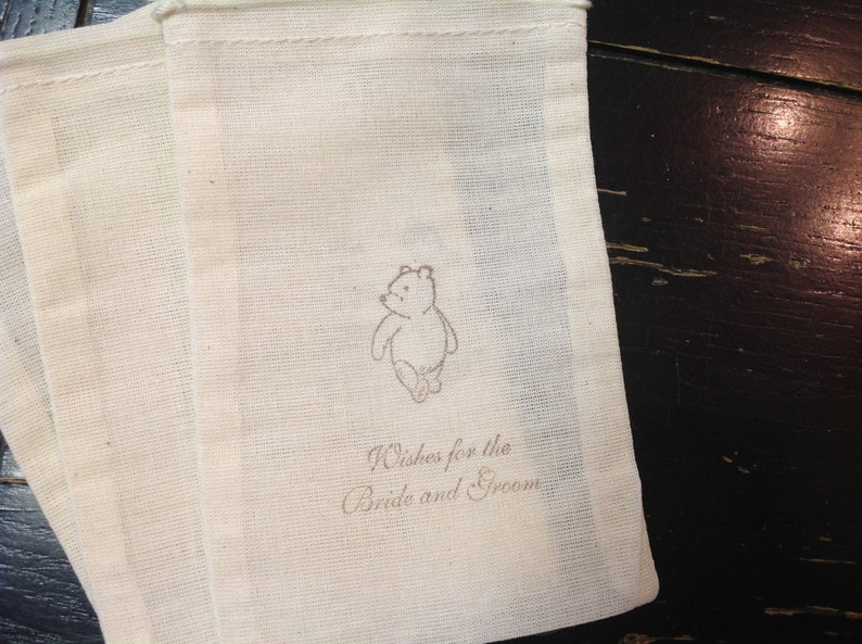 10 Winnie the Pooh Muslin Bags-Pooh wedding Favors pooh gifts Drawstring bags 4x6