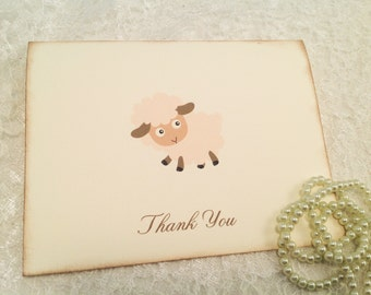 Thank You Note Cards-Personalized Card Sets-Animal Cards-Lamb Sheep-Set of 10