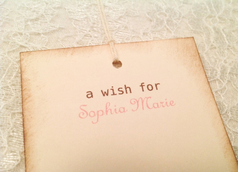 Girl Birthday Favors-Set of 12 Personalized Baby Shower Wish Tree Favor Tags-Girl Wish Tree Tags