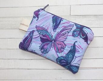 Coin purse, change purse, purple with butterflies