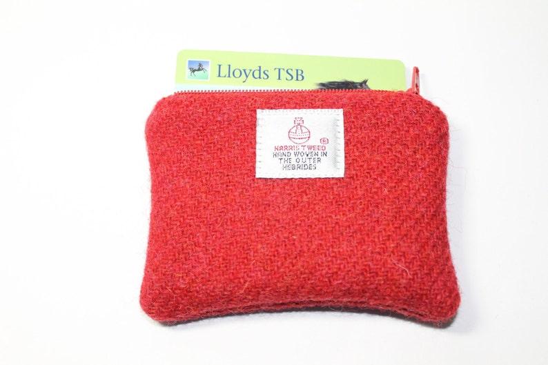 red purse change purse HARRIS TWEED purse coin purse