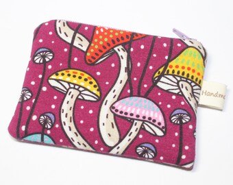 Coin purse, change purse, with toadstools, autumn, fall, woodland print