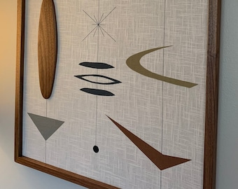 Mid Century Modern Wood Wall Art Witco Inspired Abstract Sculpture Painting Retro Eames Era - Bridgette I (Single Piece) Modern Retrograde