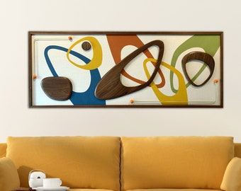 Mid Century Modern Wood Witco Style Abstract Wall Art Sculpture Painting Tiki Retro Eames Era - The Candice