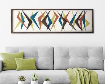 Mid Century Modern Wood Witco Style Abstract Wall Art Sculpture Painting Tiki Retro Eames Era Boomerang