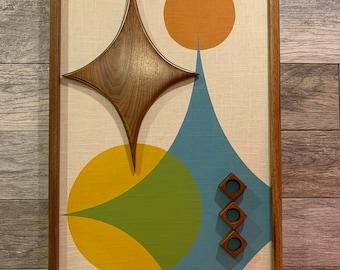 Mid Century Modern Wood Wall Art Witco Inspired Madmen Abstract Sculpture Painting Retro Eames Era Atomic - The Apollo Modern Retrograde