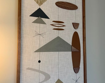 Mid Century Modern Wood Wall Art Witco Inspired Abstract Sculpture Painting Retro Eames Era - Bridgette III (Single Piece) Modern Retrograde