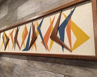Mid Century Modern Wood Witco Style Abstract Wall Art Sculpture Painting Tiki Retro Eames Era Boomerang III