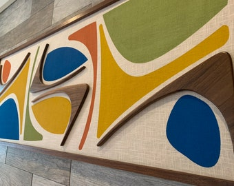 Mid Century Modern Wood Witco Style Abstract Wall Art Sculpture Painting Tiki Retro Eames Era - The Winnie