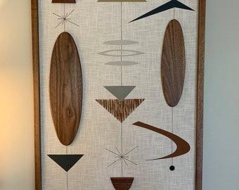 Mid Century Modern Wood Wall Art Witco Inspired Abstract Sculpture Painting Retro Eames Era - Bridgette II (Single Piece) Modern Retrograde