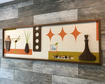 Mid Century Modern Wood Wall Art Witco Inspired Madmen Abstract Sculpture Painting Retro Eames Era Atomic - The Valerie Modern Retrograde